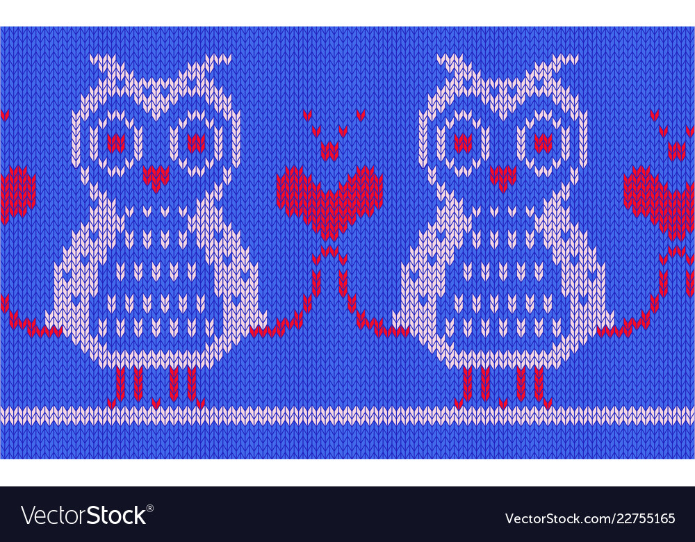 Knitted background two pink owls and a unifying Vector Image 1000x780