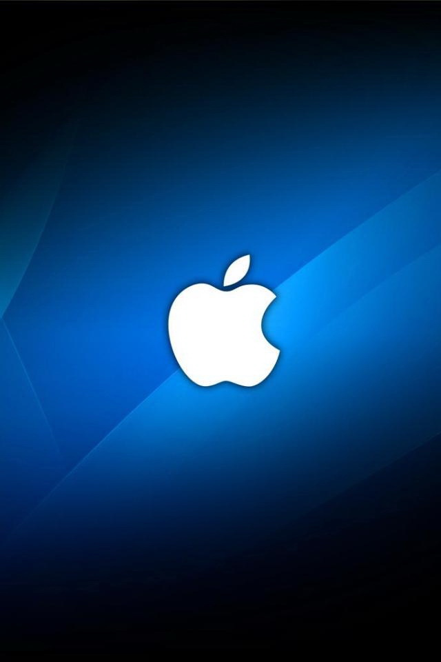 White Apple Logo with Blue Abstract Background Wallpaper   iPhone 640x960