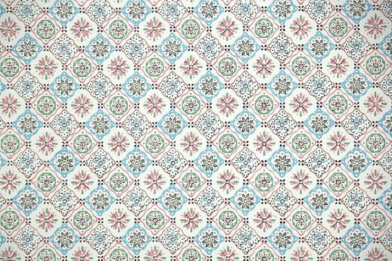1940 s vintage wallpaper pink blue and white by hannahstreasures 16 570x380