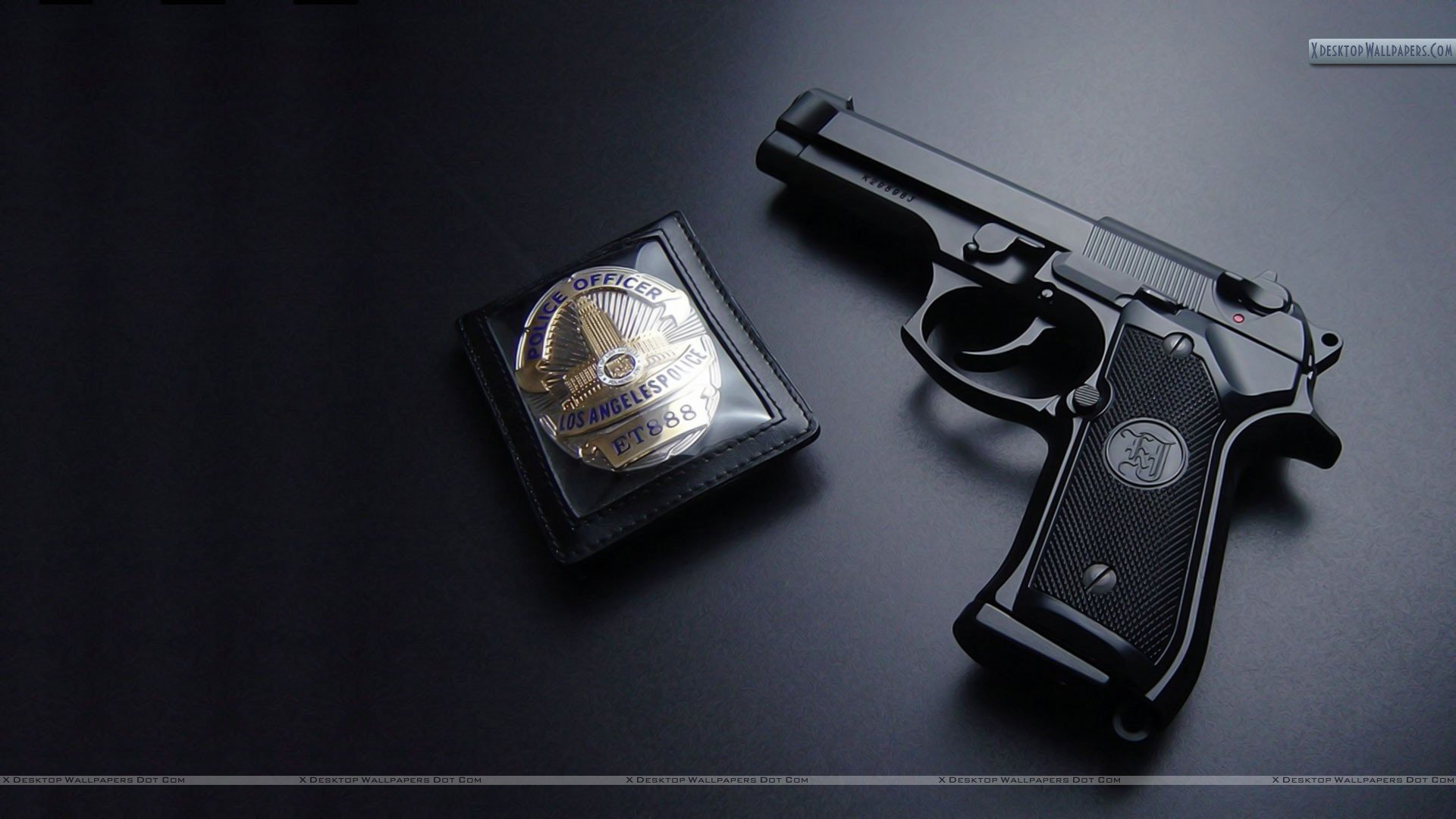 Los Angels Police Gun With Badge Wallpaper 1920x1080