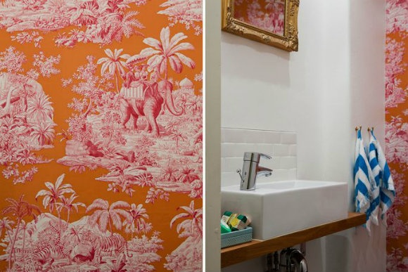 Fun wallpaper in bathroom For the Home Pinterest 580x387