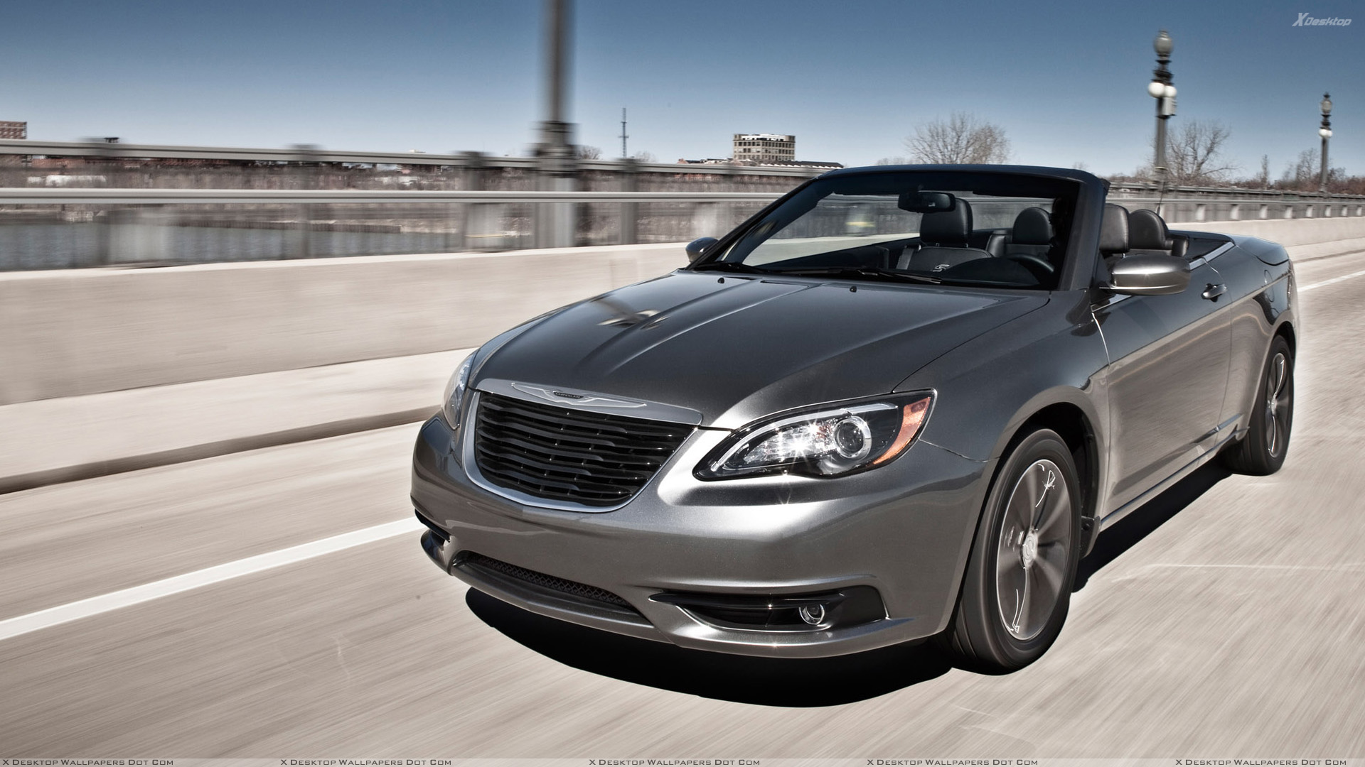 Front Pose Of 2011 Chrysler 200 S Convertible In Grey Wallpaper 1920x1080