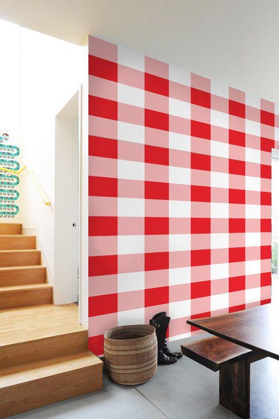 Gingham  self adhesive DIY wallpaper home decor interior wall art d 550x825