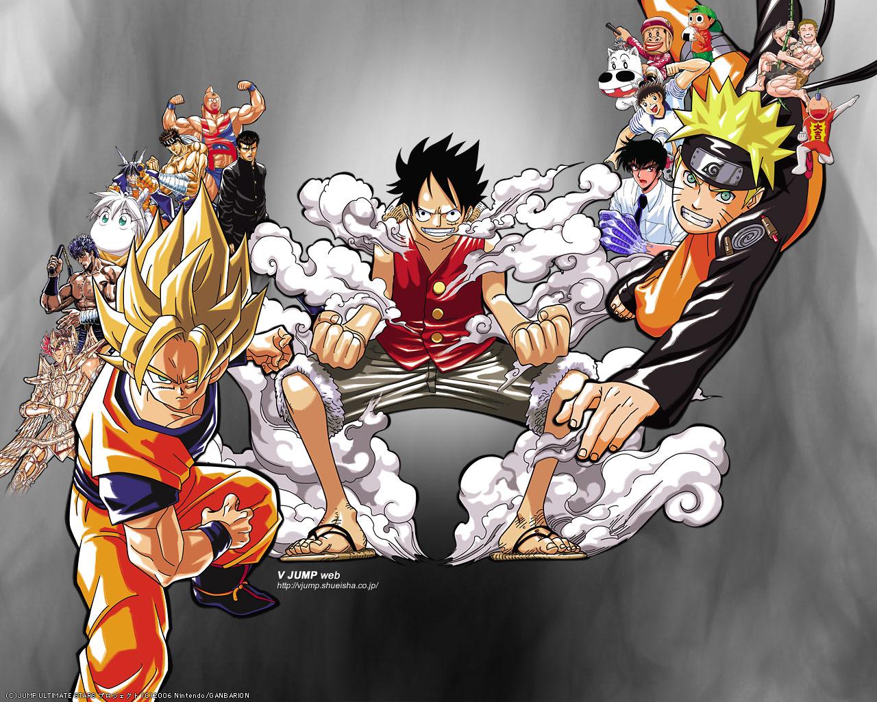 Goku Luffy Naruto   Saiyan Island 1280x1024