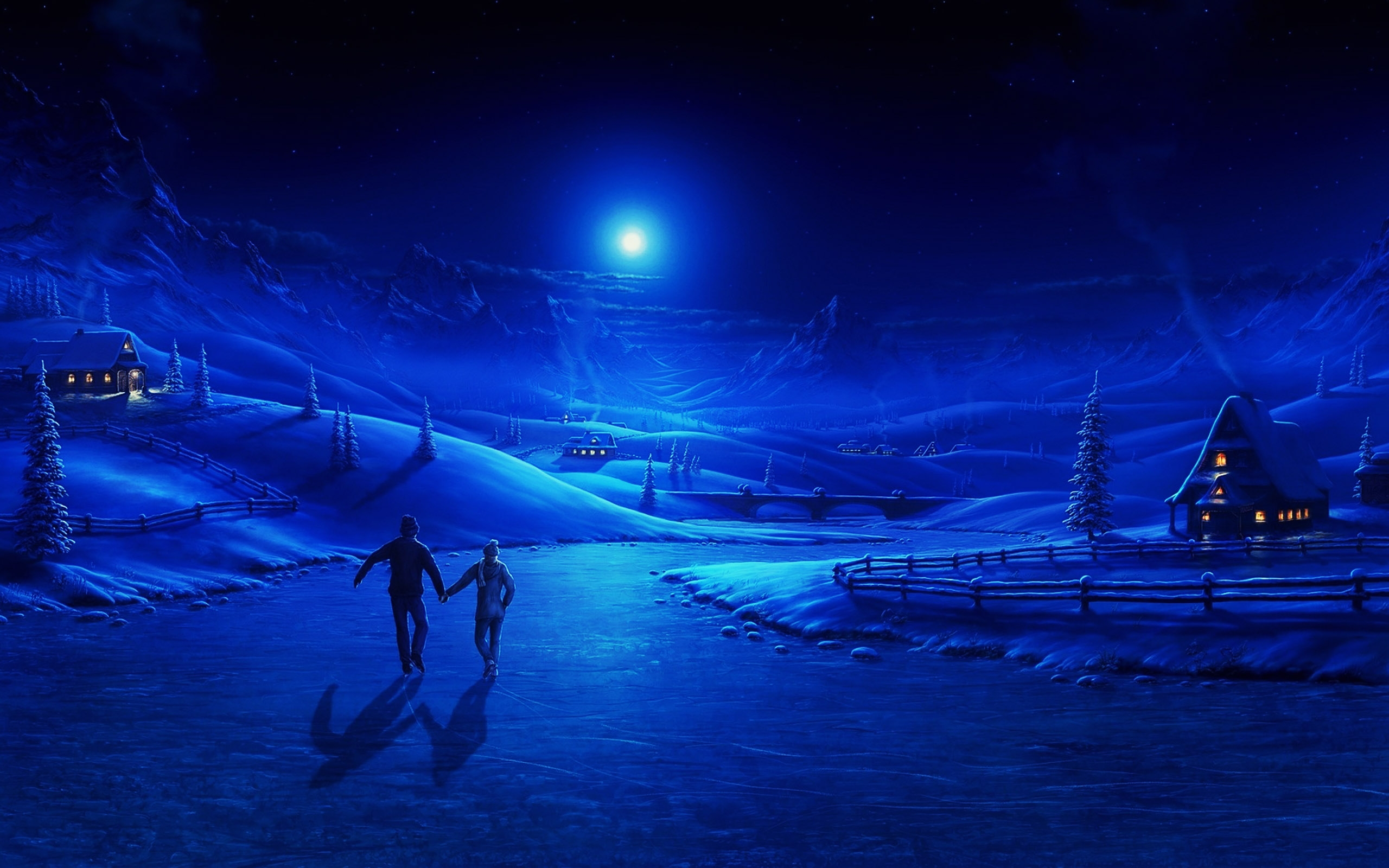 Blue Christmas Winter Night Wallpapers Paintings Christmas 2560x1600