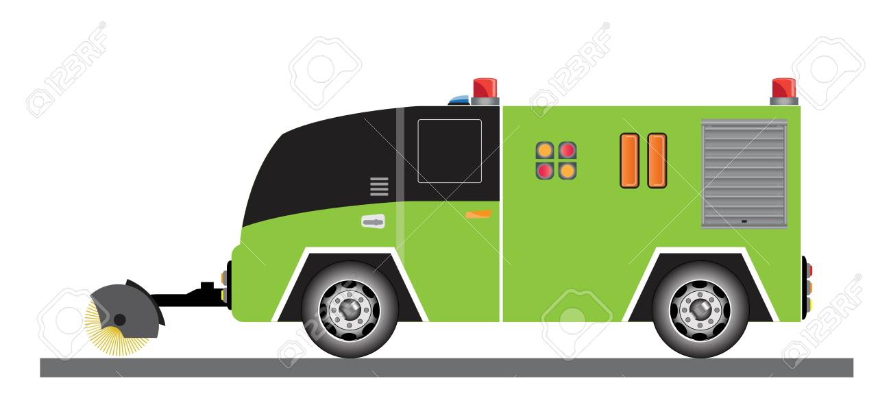 Street Sweeper Truck Vector And Illustration On White Background 1300x610