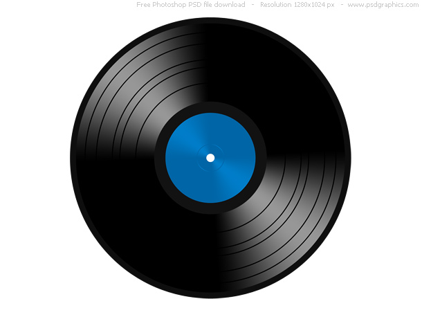 Vinyl gramophone record illustration on white background Shiny black 610x458