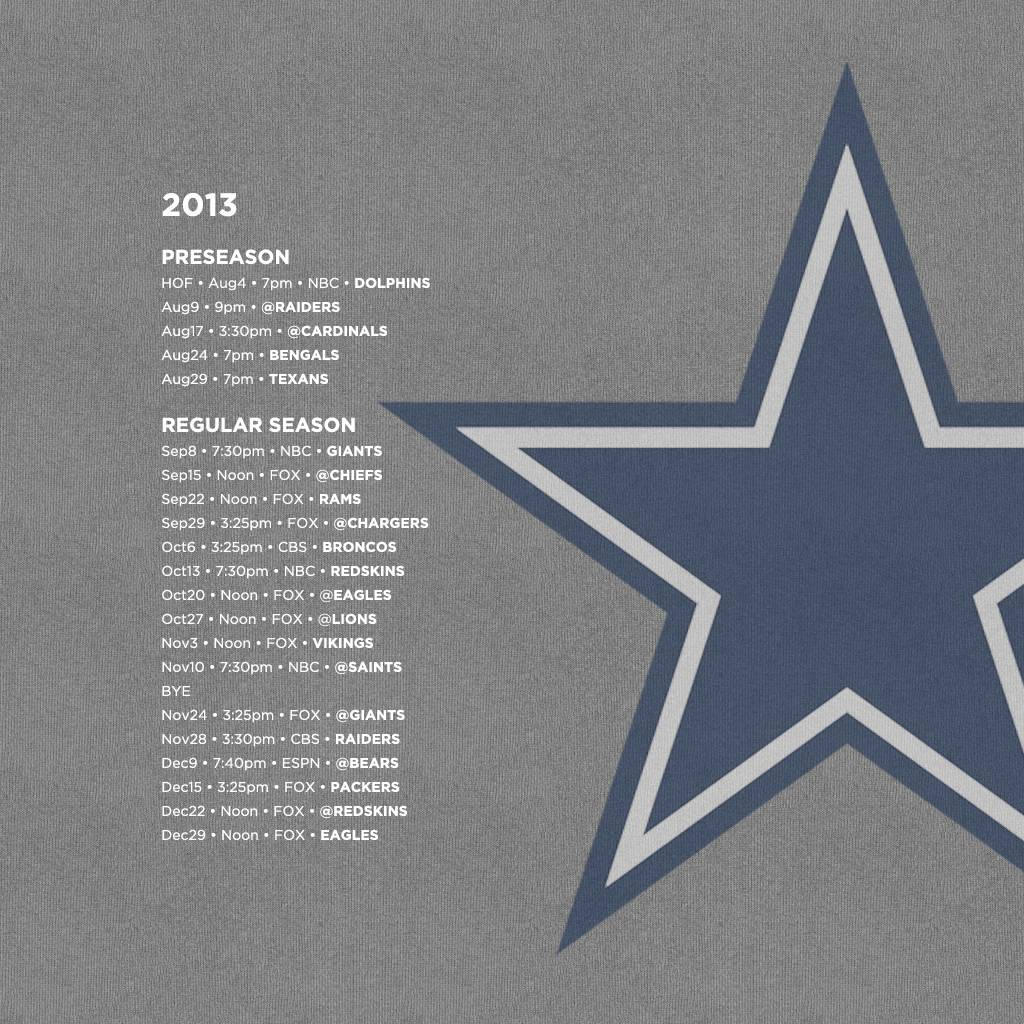 Dallas Cowboys schedule wallpapers for your iPhone iPad and desktop 1024x1024