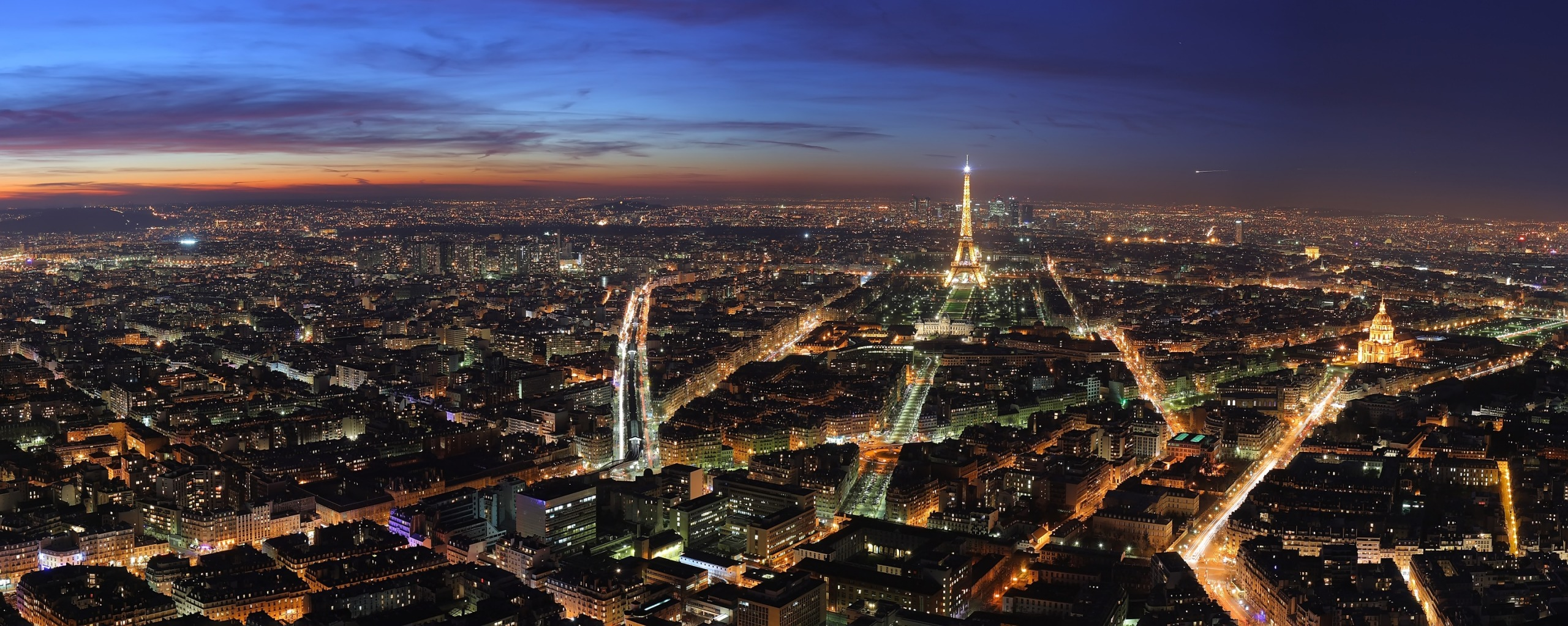 Paris at Night Dual Monitor Wallpapers HD Wallpapers 2560x1024