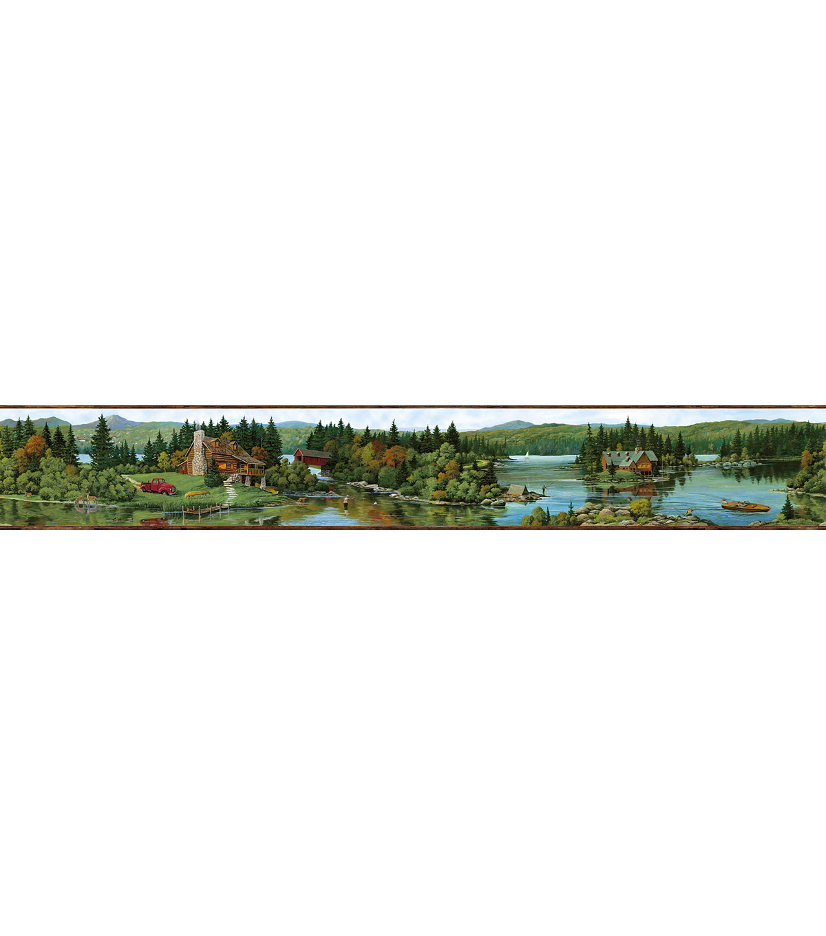 Log Lake Brown Lakeside Cabin Wallpaper Border SampleLog Lake Brown 1200x1360