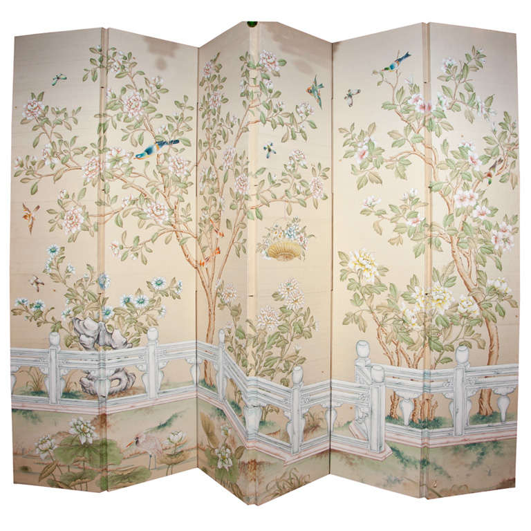 Download Six Panel Gracie Hand Painted Wallpaper Screen at 1stdibs 768x768