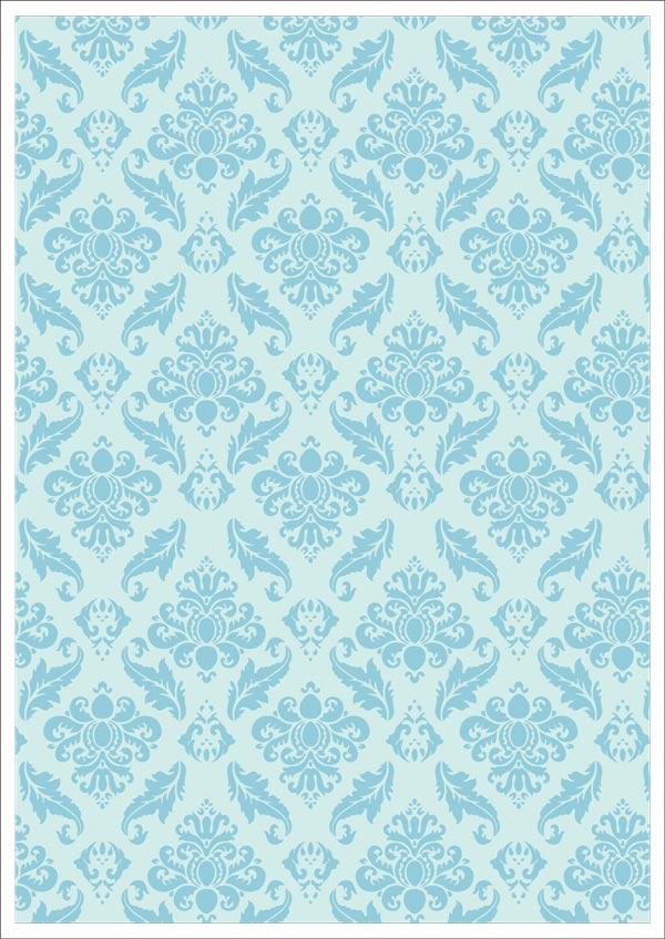 Blue Vintage Design On Pale Blue Background Printable Scrapbook Paper 600x848