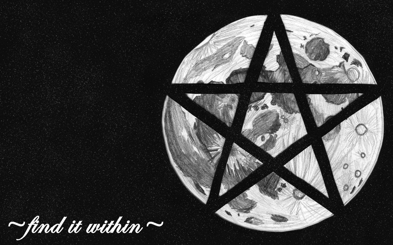 Wiccan Pentagram Wallpaper Wicca moon pentagram by 1600x1000