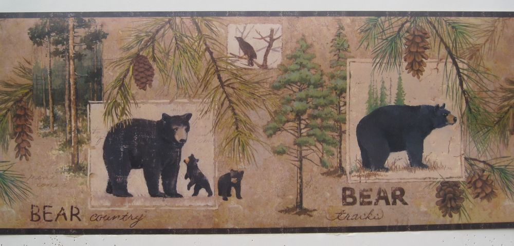 Black Bear with Cubs Bear Country Wallpaper Border 9 eBay 1000x479