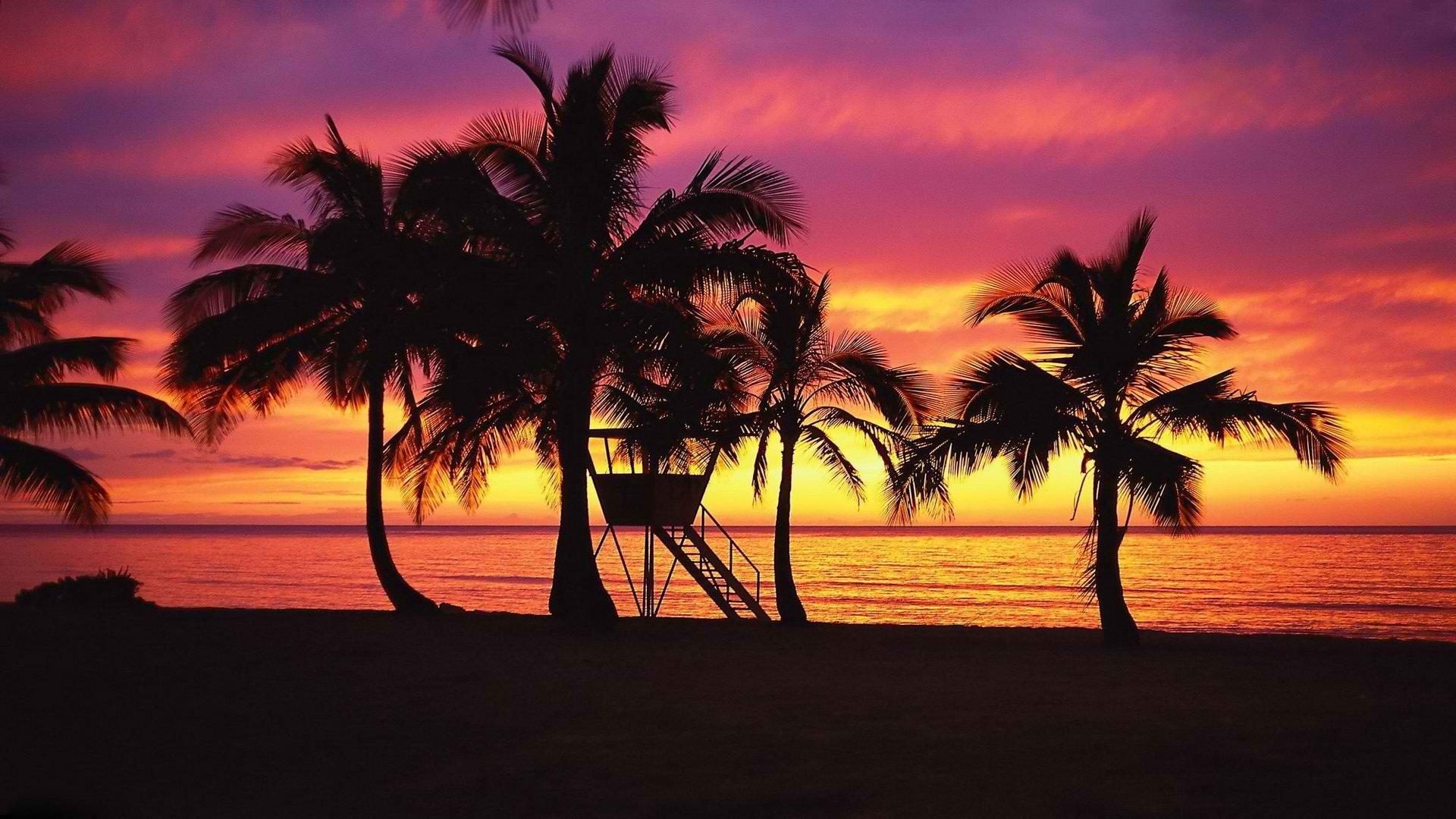 Hawaiian Beach Sunset Wallpaper Background: Oahu Hawaii Wallpaper