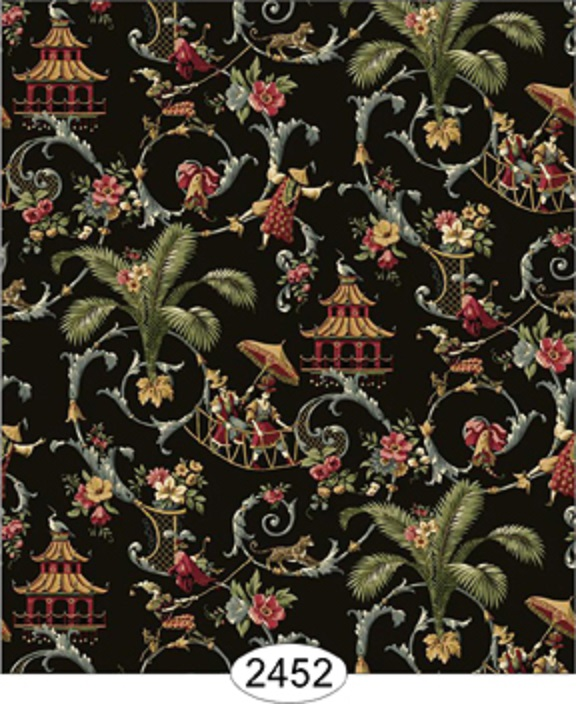 Details about Dollhouse Wallpaper Cozy Cottage Chinoiserie in Black 576x704
