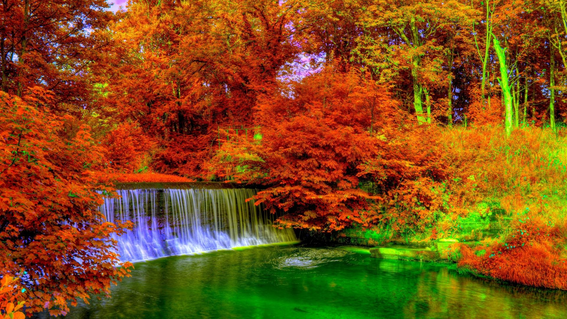Magnifique cascade en automne 1920x1080