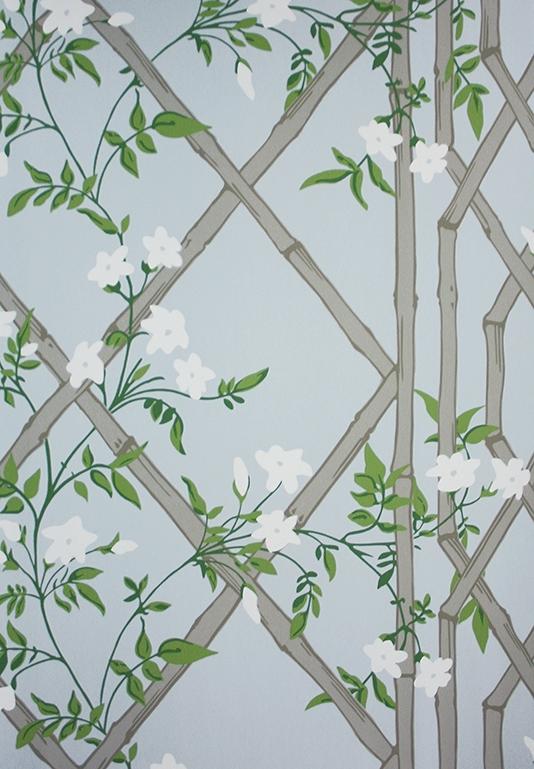 Jasmine Lattice Wallpaper A decorative wallpaper featuring a floral 534x769