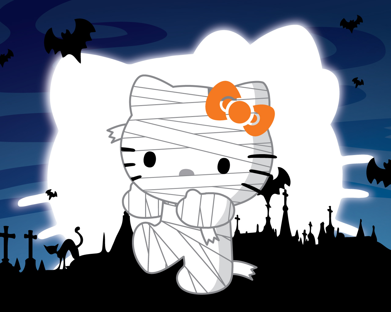 2012 Halloween backgrounds Hello Kitty Halloween Background 1280x1024