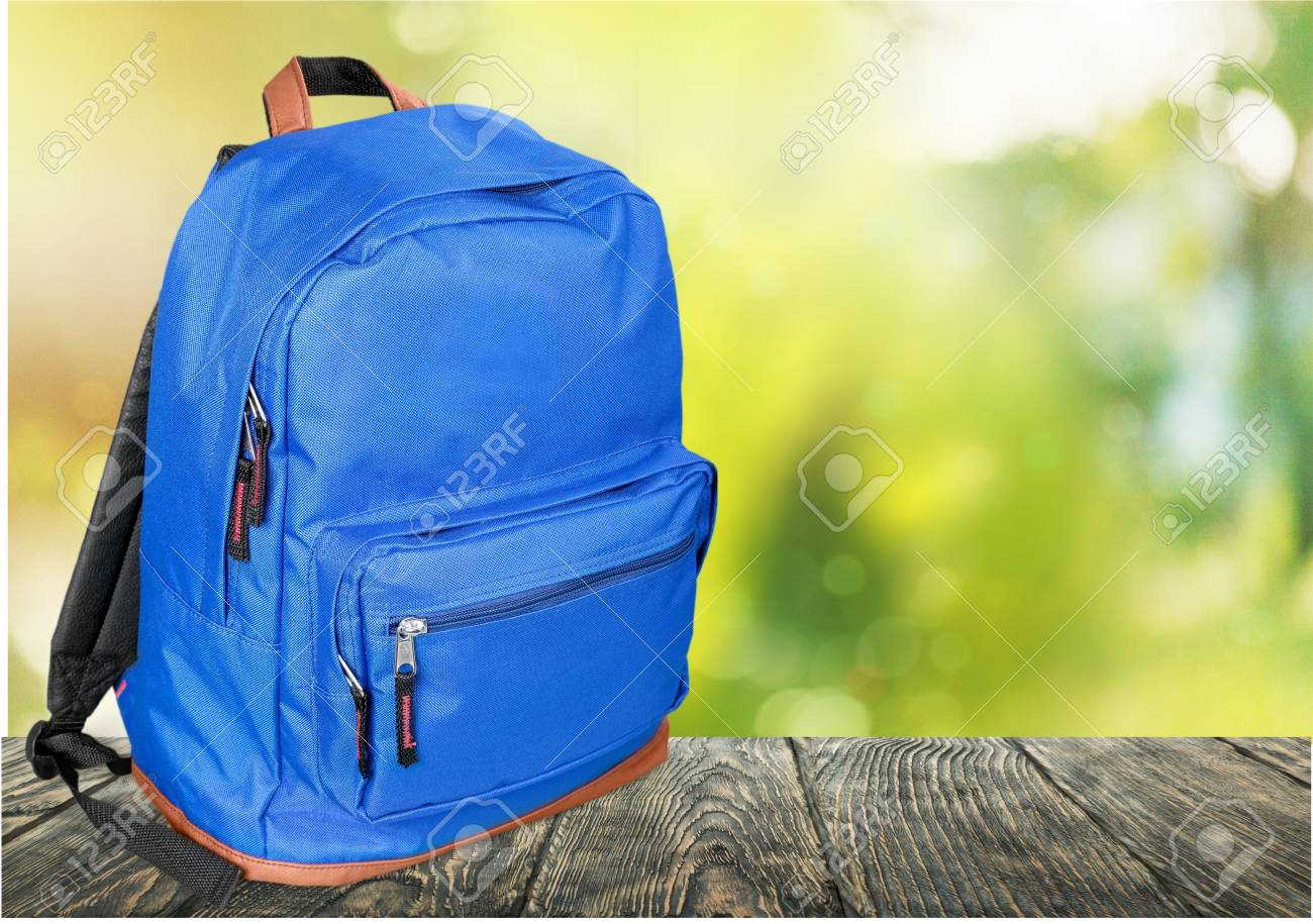 Blue School Backpack On Background Stock Photo Picture And 1300x915