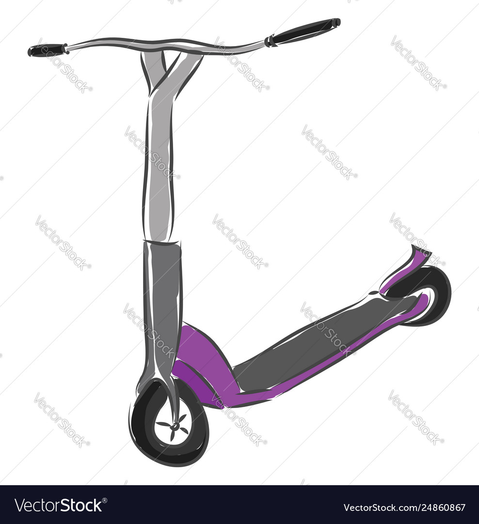 Grey and purple scooter on white background Vector Image 988x1080