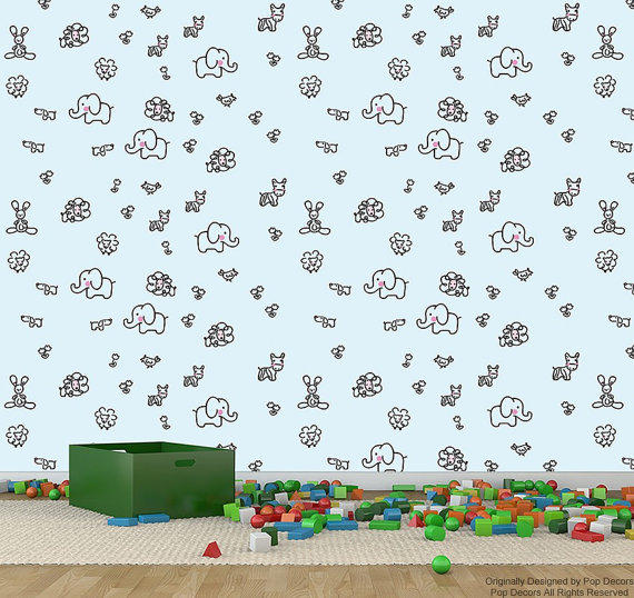 Children Playroom Kids Room Removable Wallpaper  Lovely Animals   Just 570x538