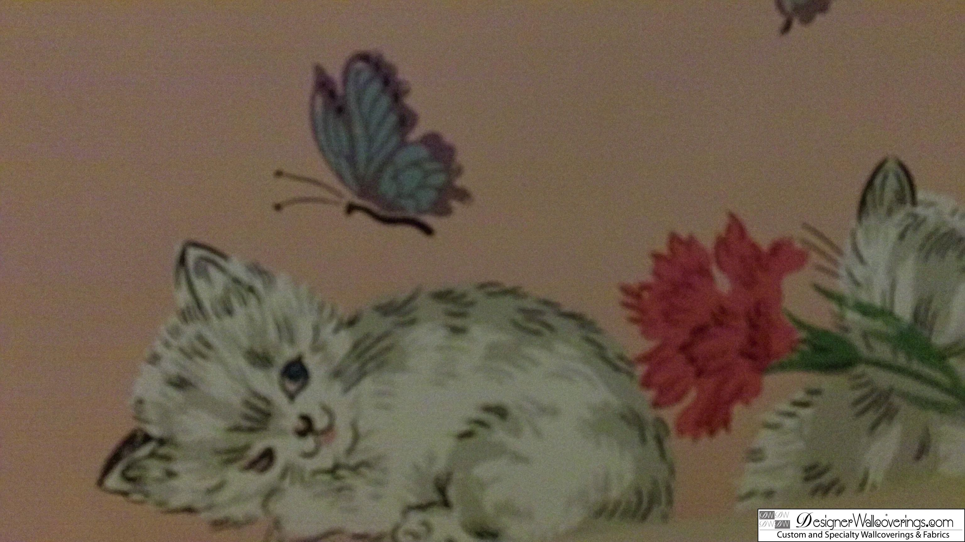 Vintage Kittens and Butterflies [DIG 15008] Designer Wallcoverings 3072x1728
