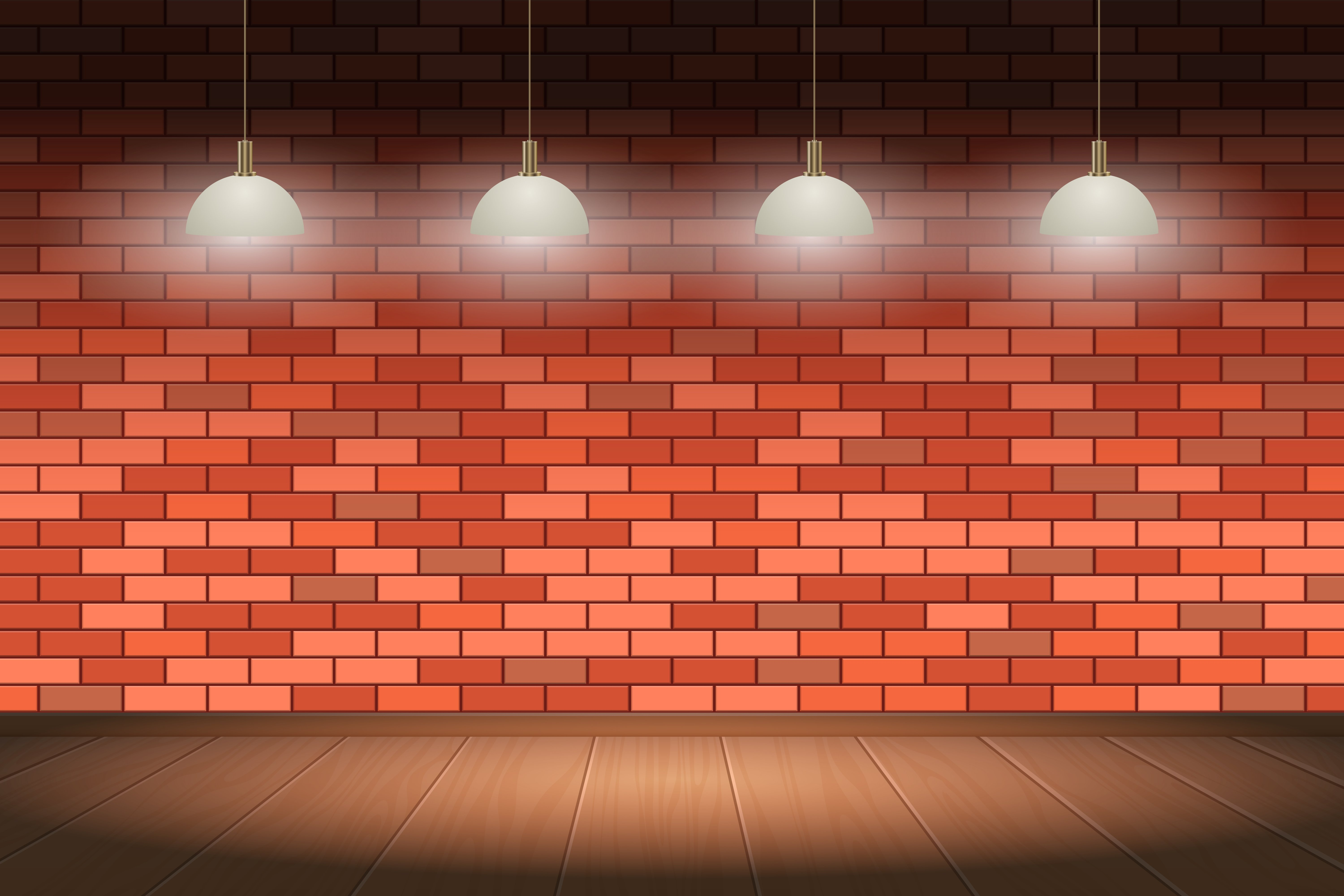 Brick wall and wooden floor background vector design illustration 6000x4000