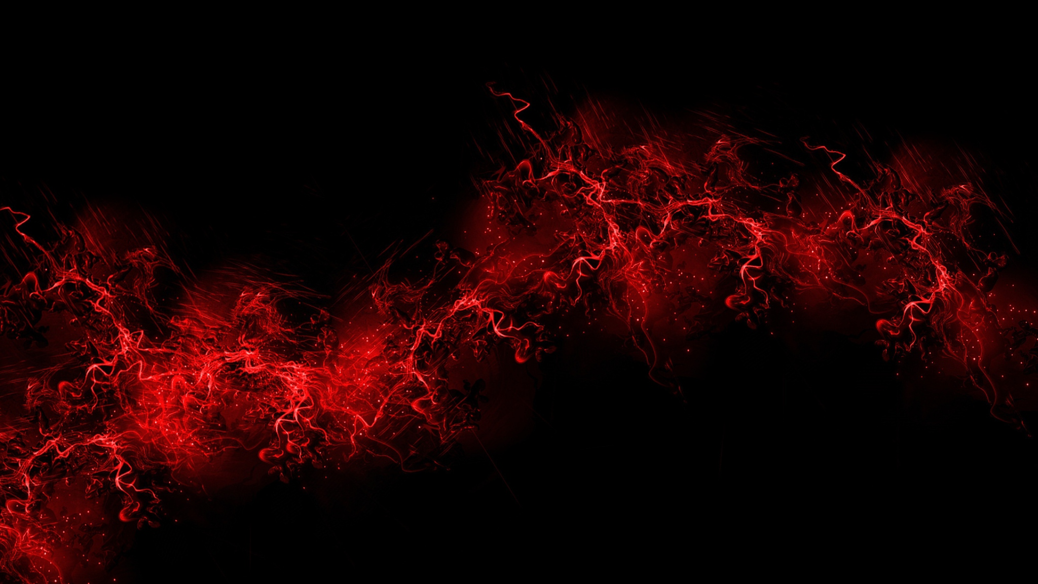 2048x1152 Wallpaper black background red color paint explosion 2048x1152