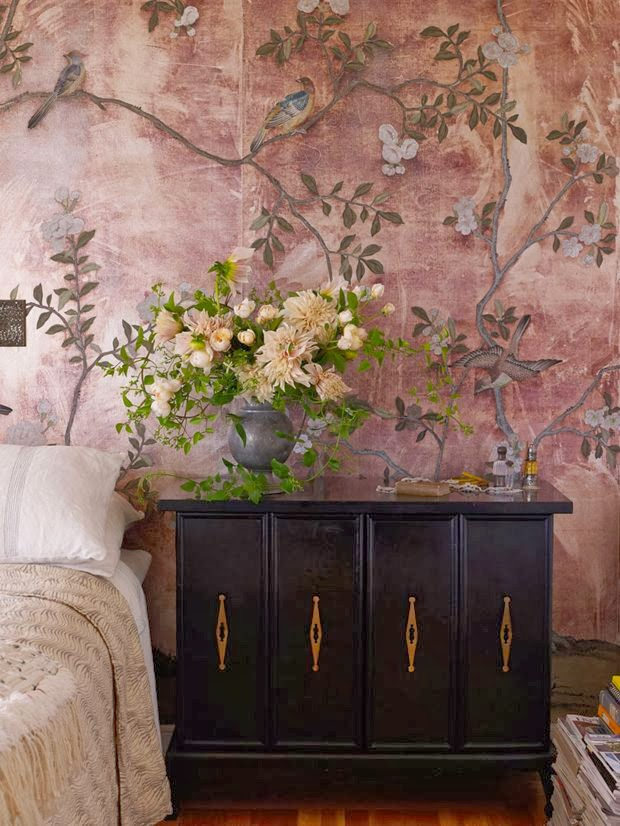 Peonies and Orange Blossoms Chic Chinoiserie Wallpapers 620x826