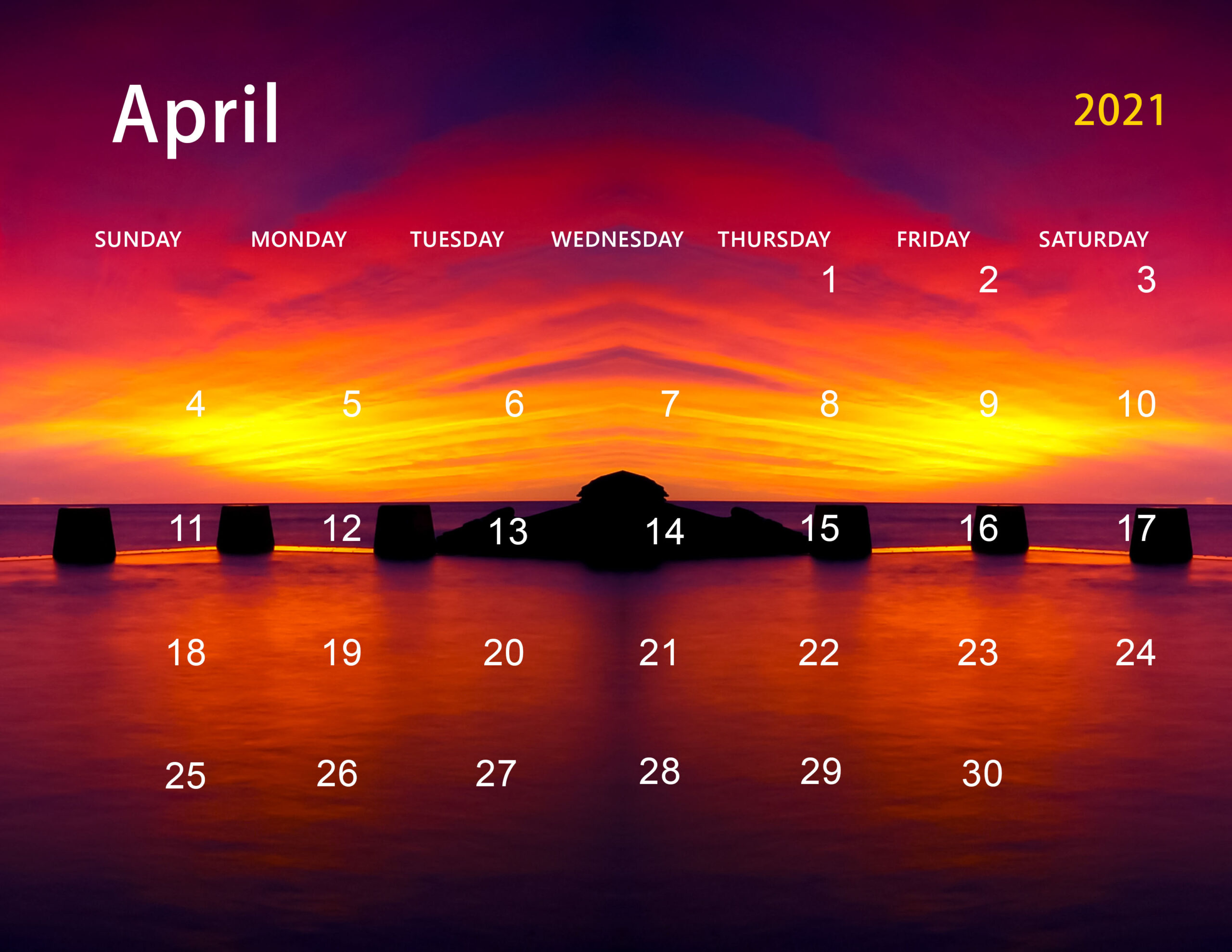 Cute April 2021 Calendar Desktop Wallpaper   Printable Calendar 2560x1978