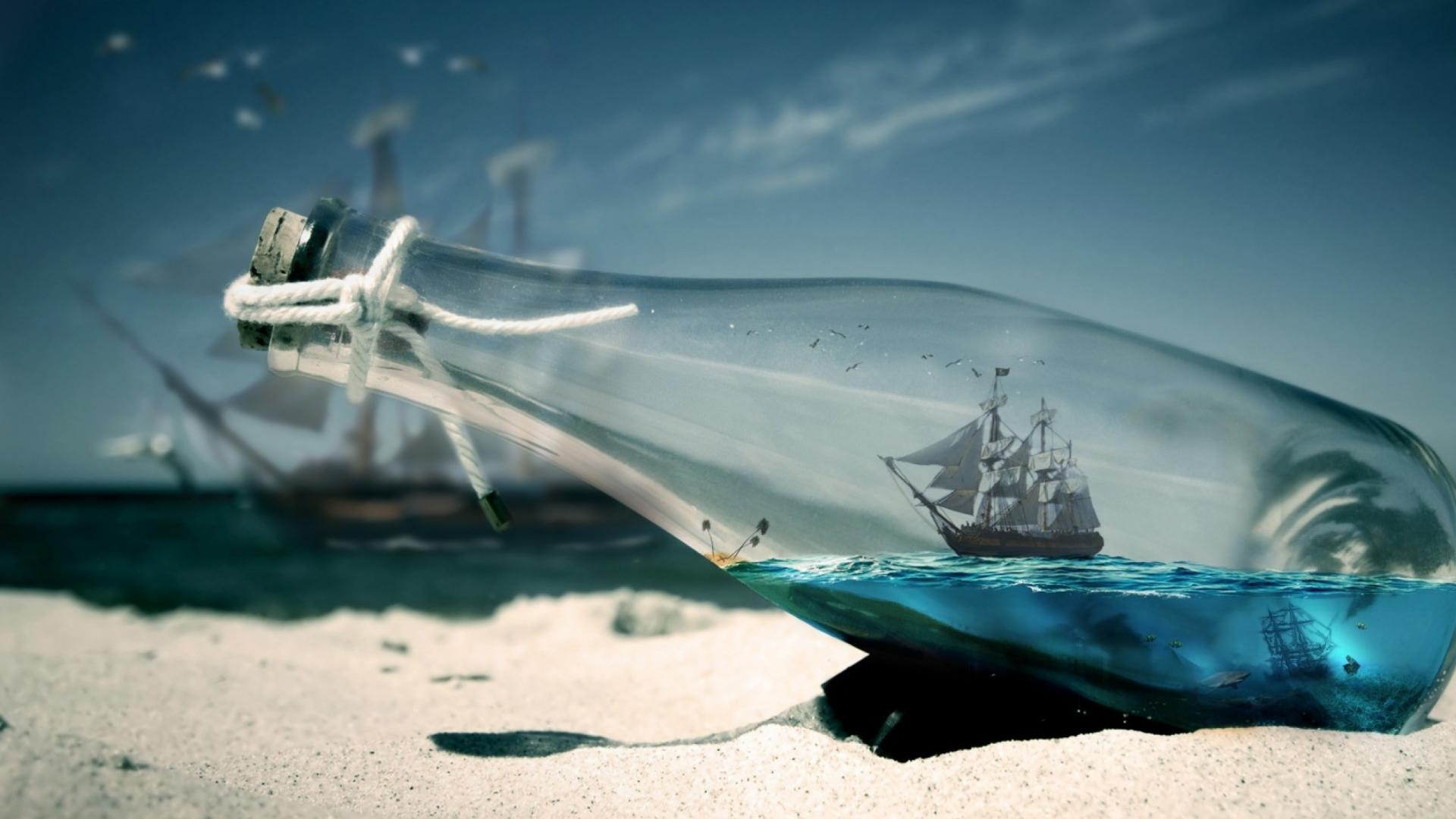 Water Bottle Sea Ships HD Wallpaper of Water   hdwallpaper2013com 1920x1080