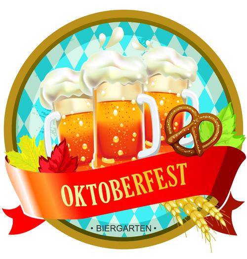 Oktoberfest label vintage background material 01   Vector 500x524