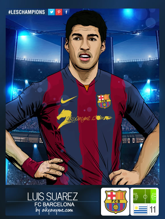 LesChampions Luis Suarez FC Barcelona Stickers by akyanyme on 580x770