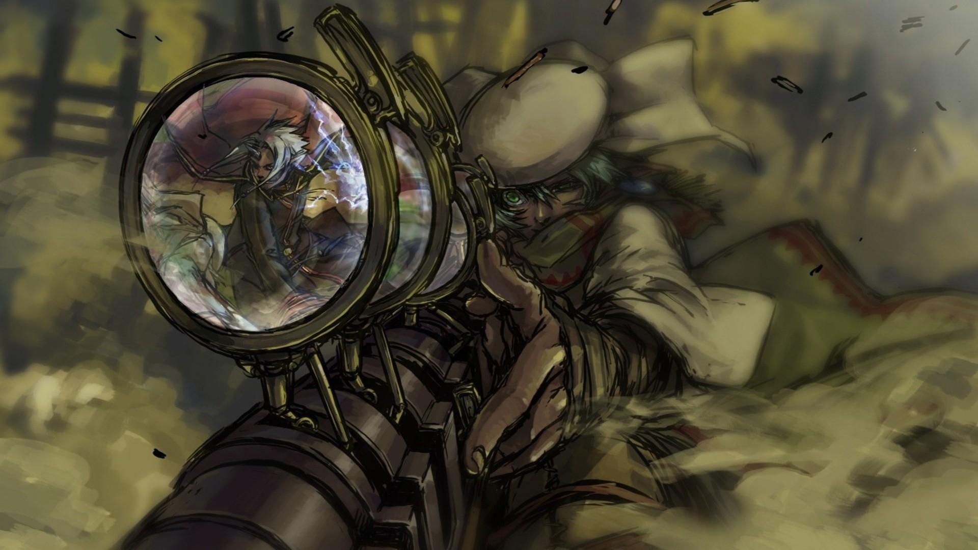 steampunk mechanical sniper weapons guns anime wallpaper background 1920x1080