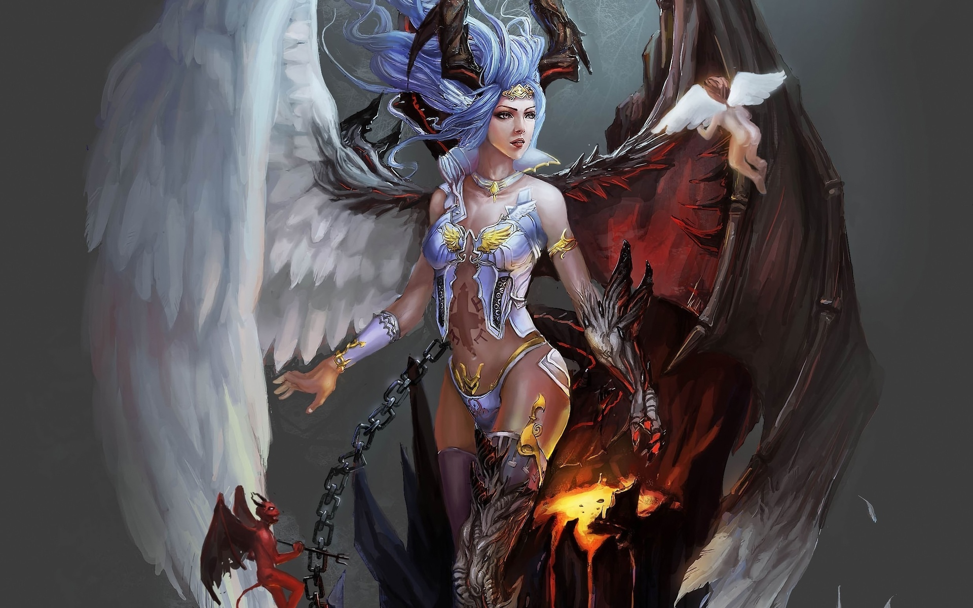 Fantasy Demon Angel Wings Chains Fire Magic Good Evil God Goddess Art 1920x1200