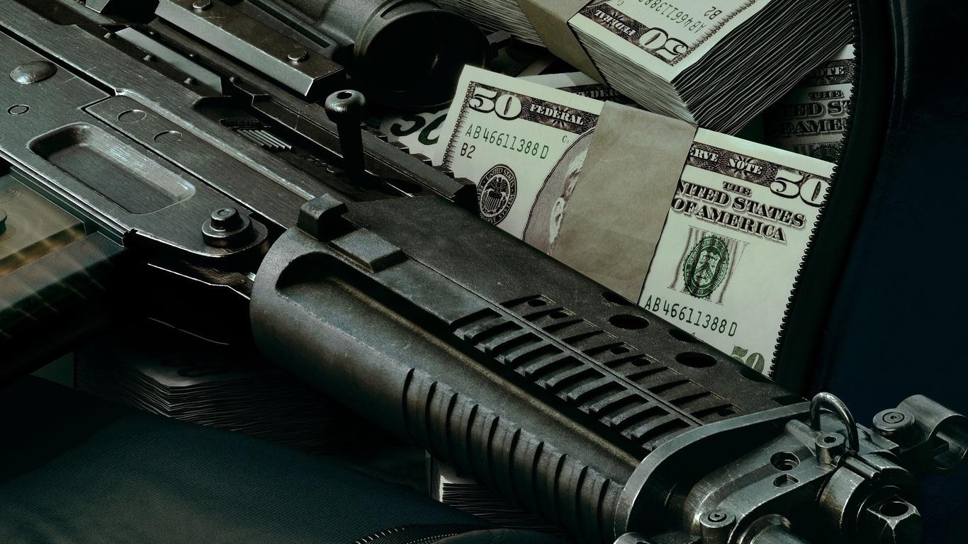 wallpapers Guns money wallpaper Arms photo on the desktop 1366x768