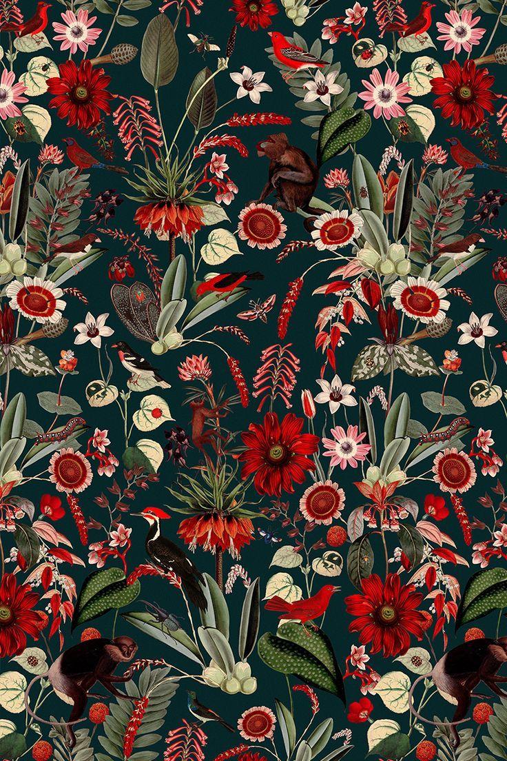 Eden Nightfall Fabulous botanical wallpaper pattern with red 736x1104