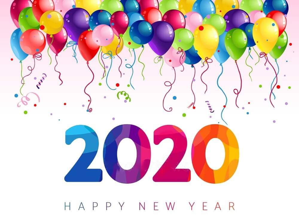 Happy New Year 2020 Colorful Balloons Wallpaper Background Images 1000x742