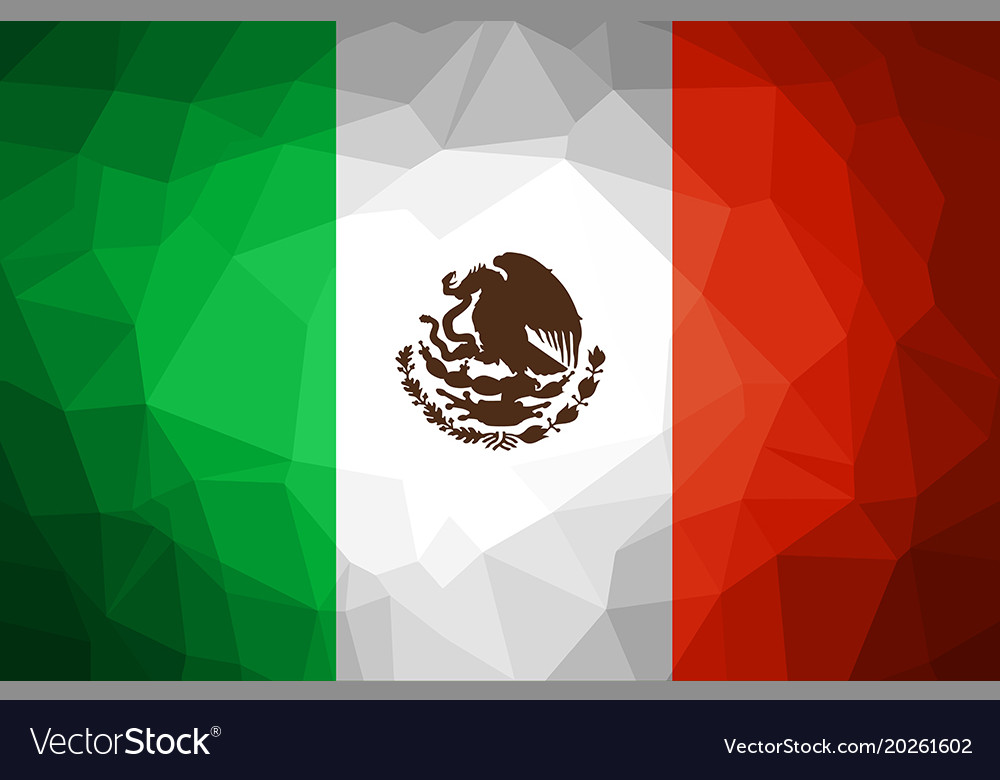 Mexico flag abstract polygon background Royalty Vector 1000x780