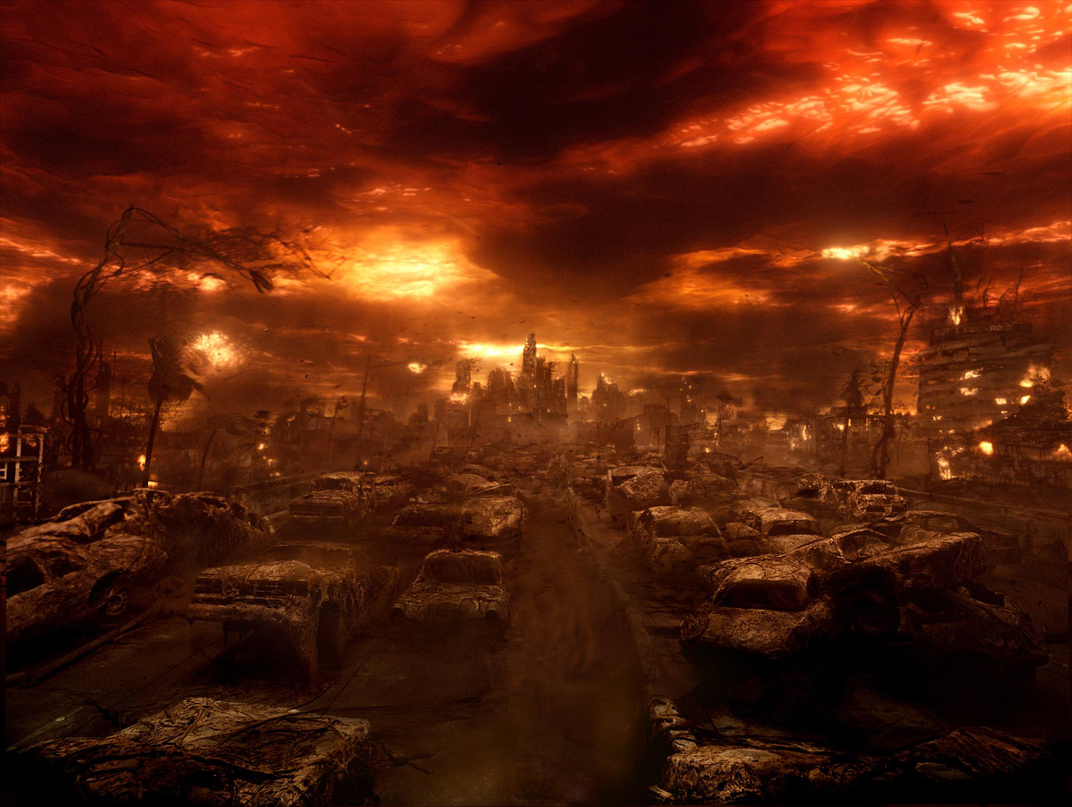 ... armageddon apocalypse burned cars art HD Wallpaper of Art & Fantasy