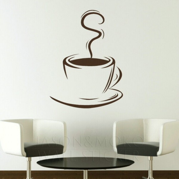 Coffee Cup Removable Kitchen Wall Stickers Wall Decals Large Wall 600x600