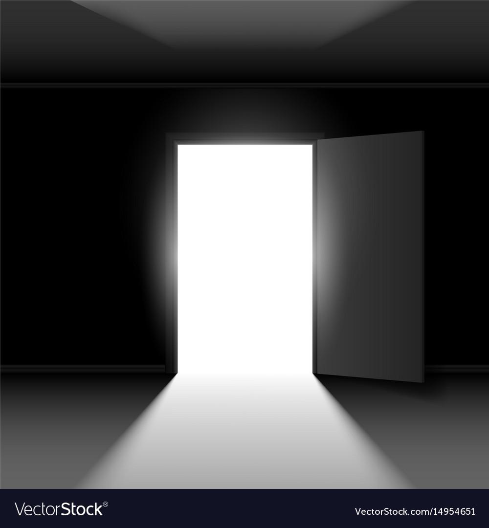 Exit door with light on dark empty background Vector Image 1000x1080