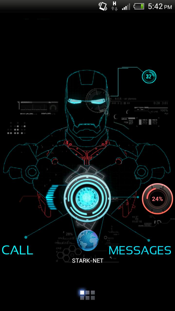 NEON IRON MAN THEME Android Homescreen by amirmahmood   MyColorscreen 720x1280