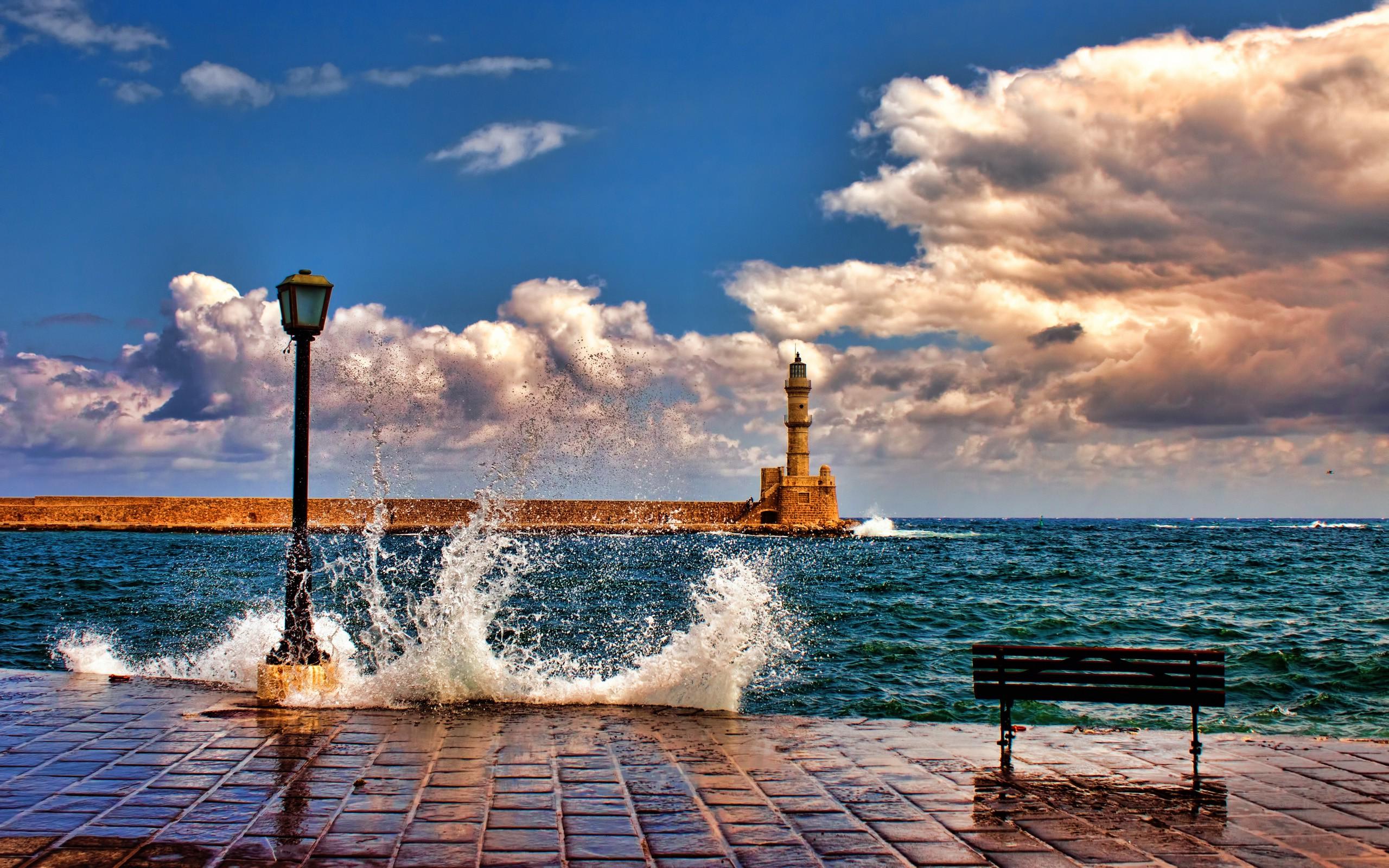 nature Architecture Landscape Clouds Horizon Crete Greece 2560x1600