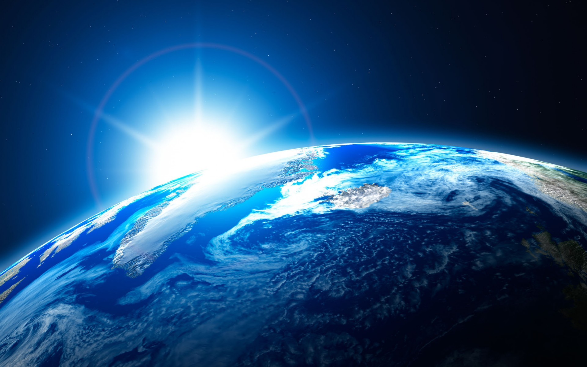 planet Earth light clouds ocean landscapes stars wallpaper background 1920x1200