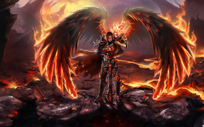 Fantasy Fire Woman computer desktop wallpapers pictures images 1440x900