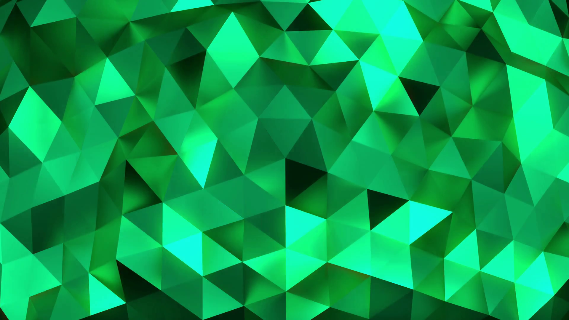 Emerald abstract background of moving shinning triangles low poly 1920x1080