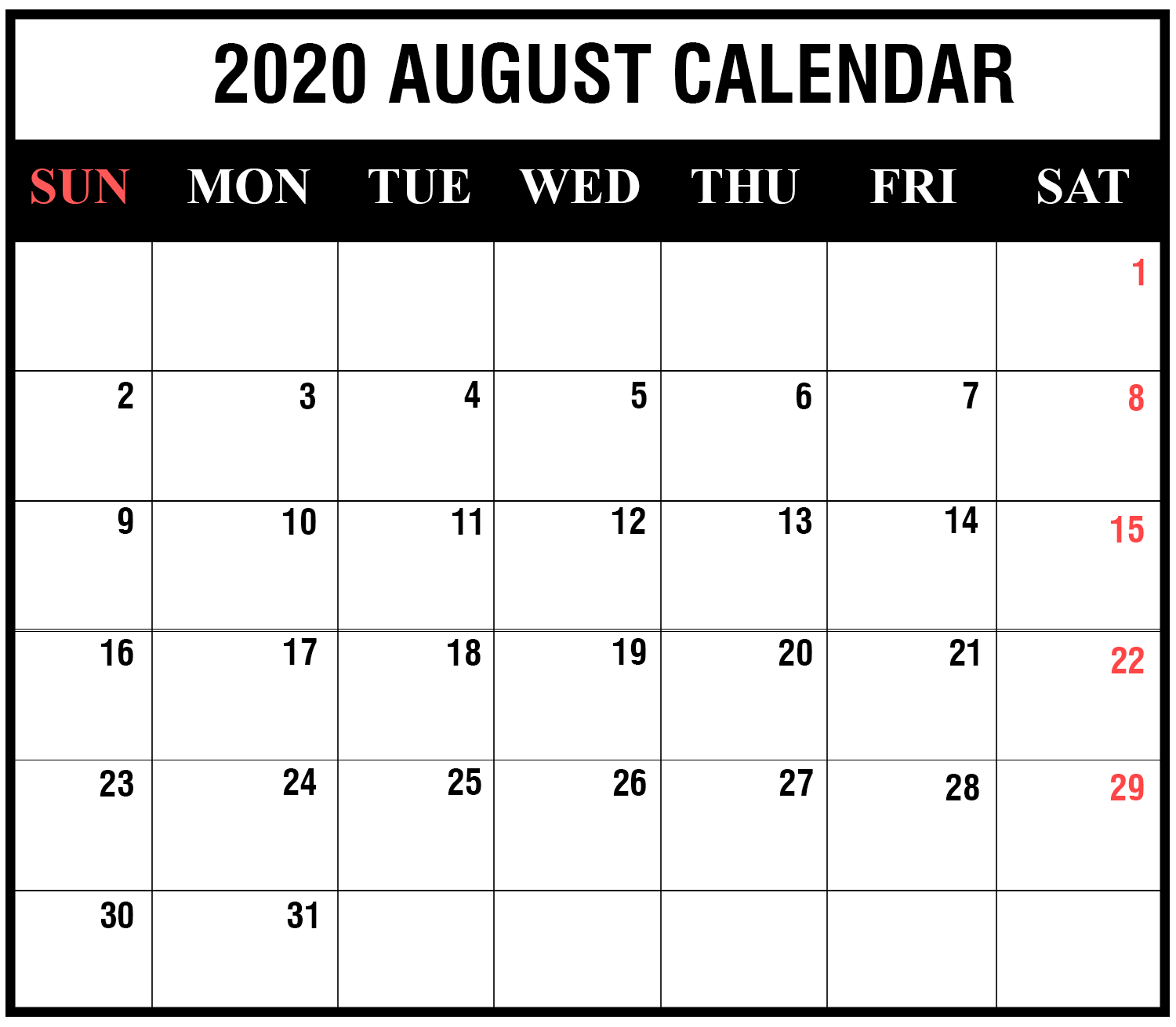 August 2020 Calendar Printable PDF Word Excel Monthly Template 1500x1310