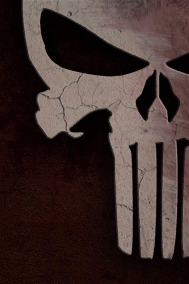 punisher skull logo iphone wallpapers iphone 5s4s3g wallpapershtml 640x960